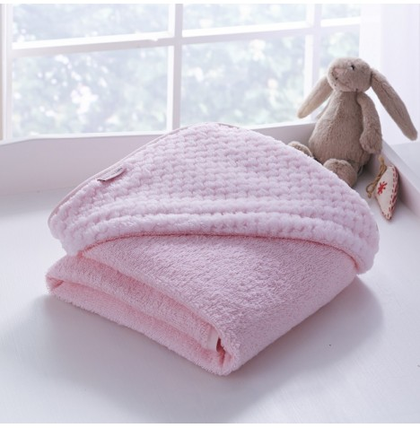 Clair De Lune Luxury Hooded Towel - Honeycomb Pink